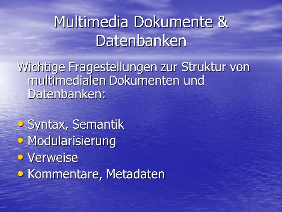 Multimedia Dokumente & Datenbanken Wichtige Fragestellungen zur Struktur von multimedialen Dokumenten und Datenbanken: Syntax, Semantik Syntax, Semantik Modularisierung Modularisierung Verweise Verweise Kommentare, Metadaten Kommentare, Metadaten