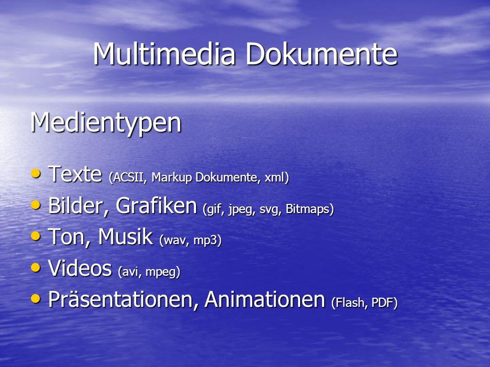 Multimedia Dokumente Medientypen Texte (ACSII, Markup Dokumente, xml) Texte (ACSII, Markup Dokumente, xml) Bilder, Grafiken (gif, jpeg, svg, Bitmaps) Bilder, Grafiken (gif, jpeg, svg, Bitmaps) Ton, Musik (wav, mp3) Ton, Musik (wav, mp3) Videos (avi, mpeg) Videos (avi, mpeg) Präsentationen, Animationen (Flash, PDF) Präsentationen, Animationen (Flash, PDF)