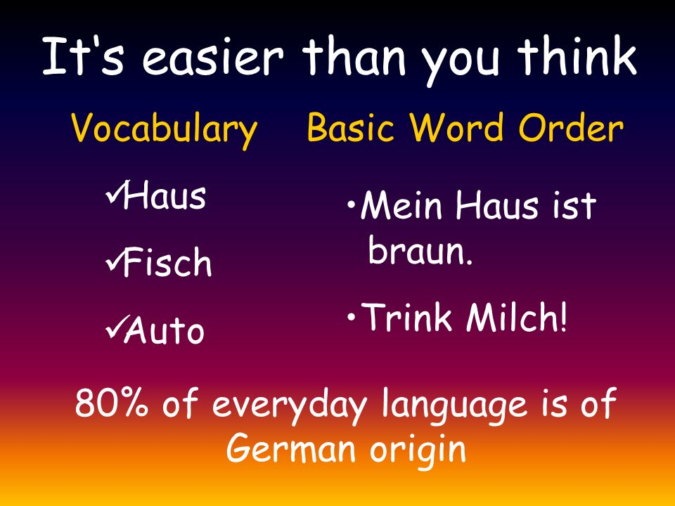 It's easier than you think Vocabulary Haus Fisch Auto Basic Word Order Mein Haus ist braun. Trink Milch! 80% of everyday language is of German origin