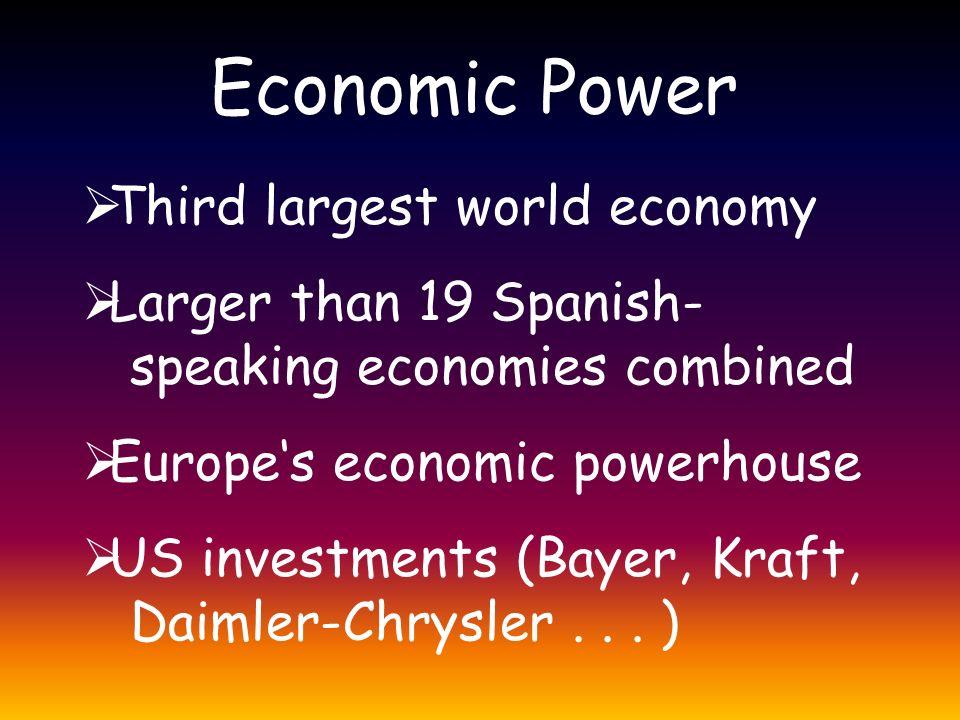 Economic Power  Third largest world economy  Larger than 19 Spanish- speaking economies combined  Europe's economic powerhouse  US investments (Ba