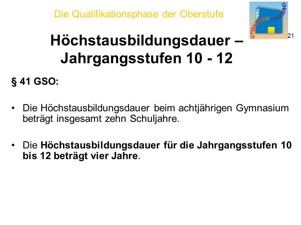 Die Qualifikationsphase der Oberstufe 21 Höchstausbildungsdauer – Jahrgangsstufen 10 - 12 § 41 GSO: Die Höchstausbildungsdauer beim achtjährigen Gymnasium beträgt insgesamt zehn Schuljahre.