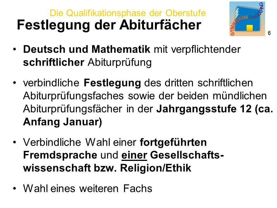 Die Qualifikationsphase der Oberstufe 6 Deutsch und Mathematik mit verpflichtender schriftlicher Abiturprüfung verbindliche Festlegung des dritten schriftlichen Abiturprüfungsfaches sowie der beiden mündlichen Abiturprüfungsfächer in der Jahrgangsstufe 12 (ca.