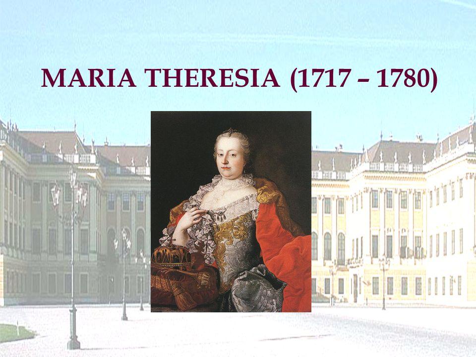 """geboren : 13.05.1717 in Wien Vater: Kaiser Karl VI Mutter: Elisabeth-Christina von Braunschweig-Wolfenbüttel gestorben: 29.11.1780 in Wien Erzherzogin von Österreich, Königin von Ungarn und Böhmen (nannte sich ab 1746 """"römische Kaiserin ) verheiratet seit 12.2.1736 mit Herzog Franz Stephan von Lothringen (ab 1745 Kaiser Franz I) 16 Kinder (11 Mädchen, 5 Buben) – 6 starben als Kleinkinder bzw."""
