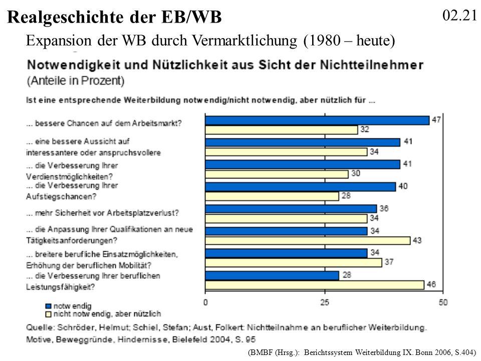 02.21 Realgeschichte der EB/WB (BMBF (Hrsg.): Berichtssystem Weiterbildung IX.