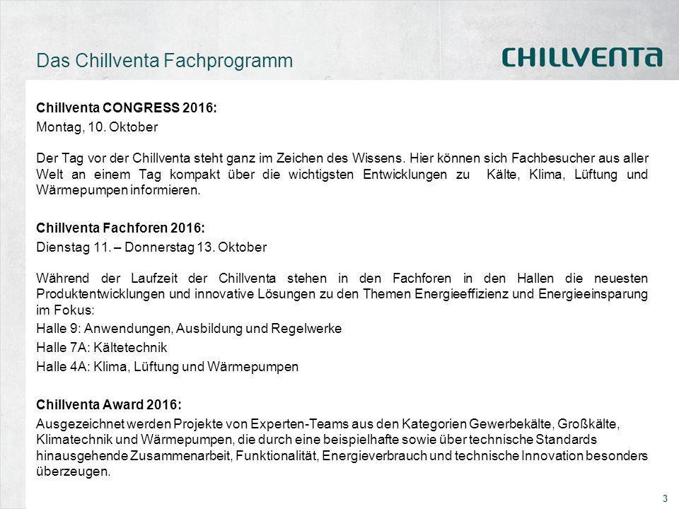 3 Das Chillventa Fachprogramm Chillventa CONGRESS 2016: Montag, 10. Oktober Der Tag vor der Chillventa steht ganz im Zeichen des Wissens. Hier können