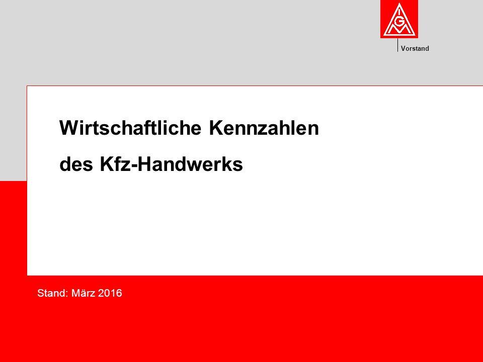 Vorstand Wirtschaftliche Kennzahlen des Kfz-Handwerks Stand: März 2016
