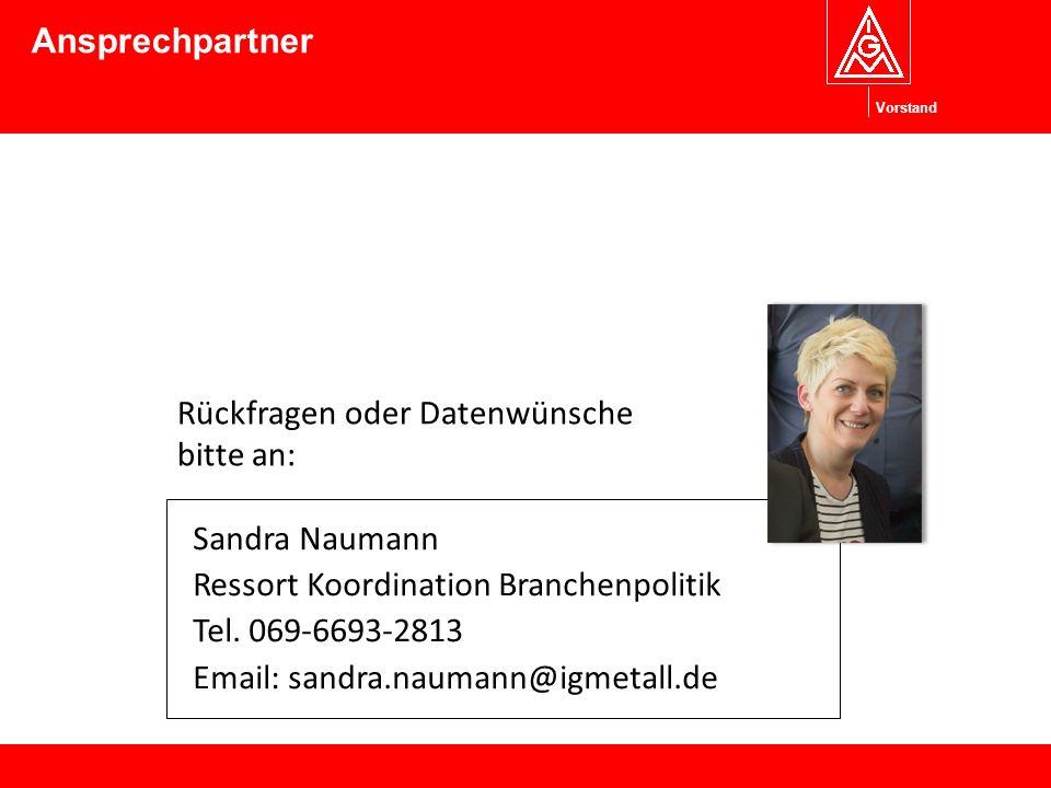 Vorstand Sandra Naumann Ressort Koordination Branchenpolitik Tel.