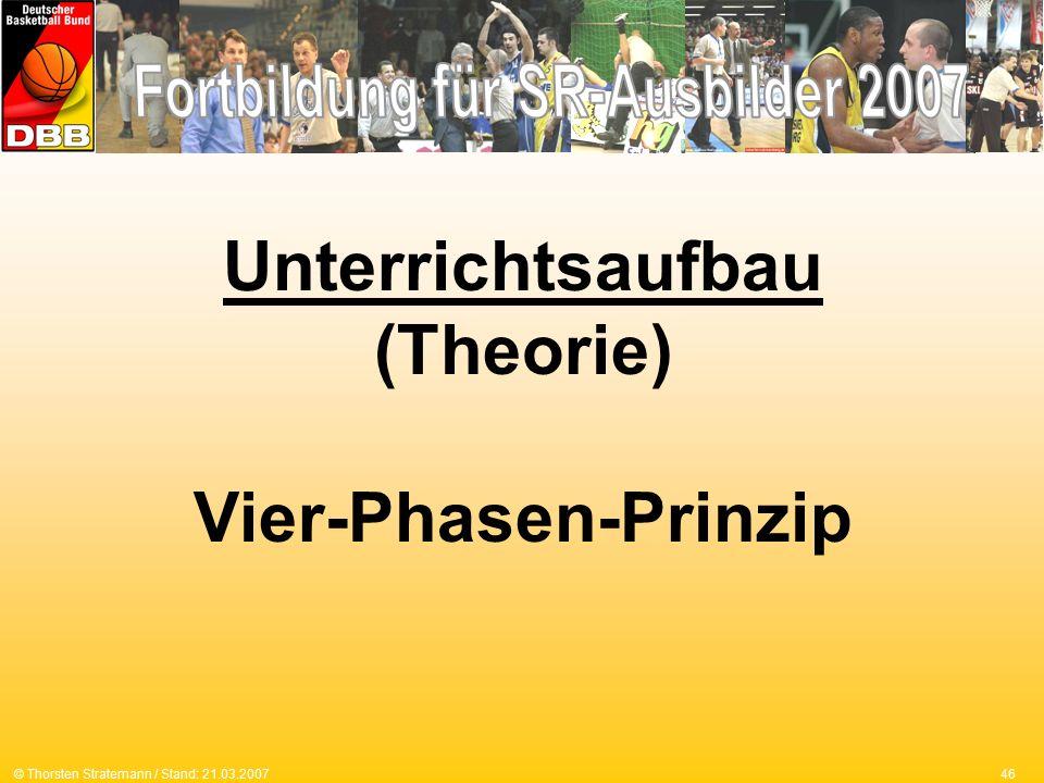 46© Thorsten Stratemann / Stand: 21.03.2007 Unterrichtsaufbau (Theorie) Vier-Phasen-Prinzip
