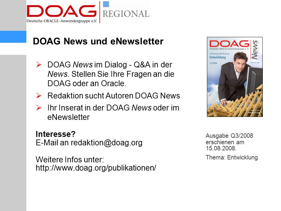 DOAG News und eNewsletter  DOAG News im Dialog - Q&A in der News.