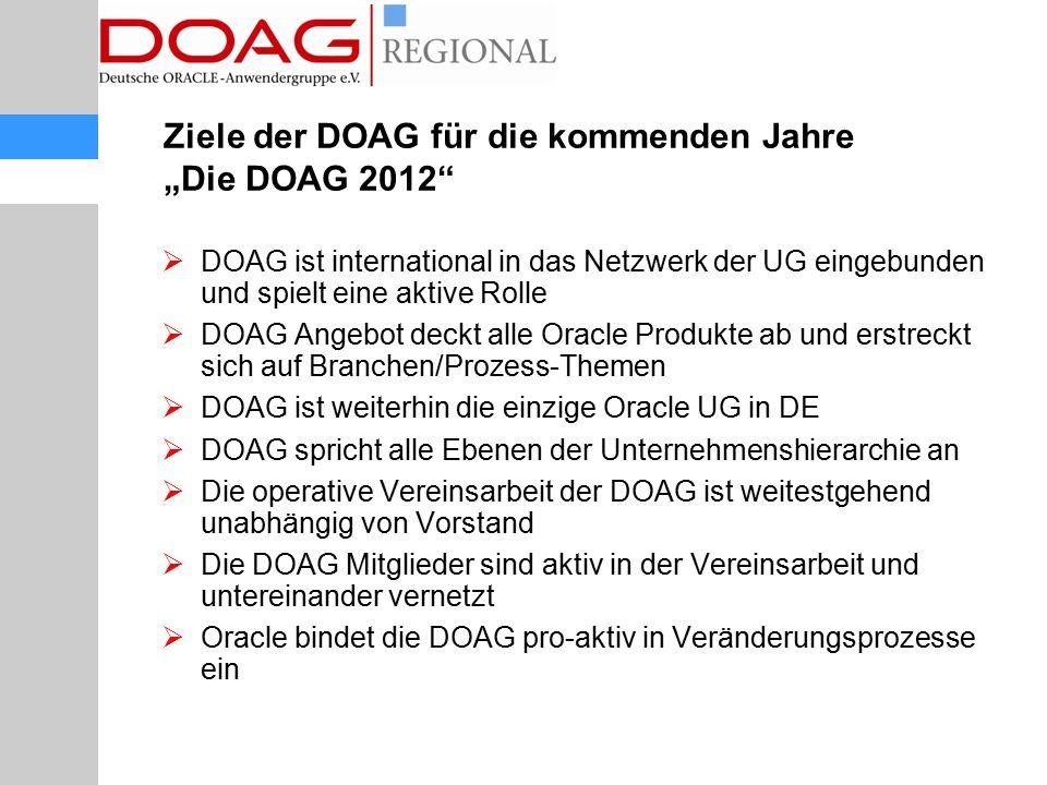 """Ziele der DOAG für die kommenden Jahre """"Die DOAG 2012""""  DOAG ist international in das Netzwerk der UG eingebunden und spielt eine aktive Rolle  DOAG"""