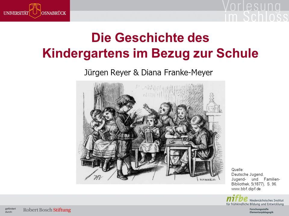 Jürgen Reyer & Diana Franke-Meyer Die Geschichte des Kindergartens im Bezug zur Schule Quelle: Deutsche Jugend. Jugend- und Familien- Bibliothek, 5(18