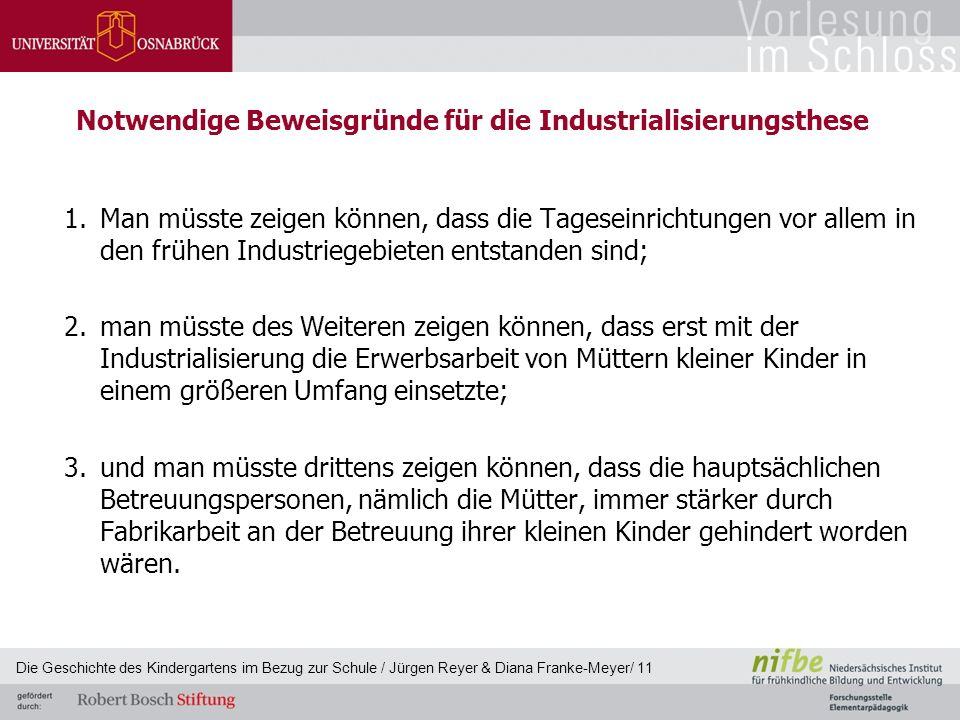 Notwendige Beweisgründe für die Industrialisierungsthese 1.Man müsste zeigen können, dass die Tageseinrichtungen vor allem in den frühen Industriegebi