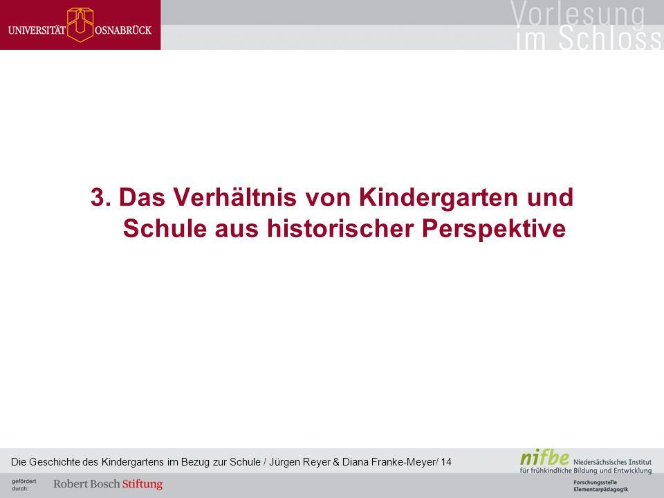 3. Das Verhältnis von Kindergarten und Schule aus historischer Perspektive Die Geschichte des Kindergartens im Bezug zur Schule / Jürgen Reyer & Diana
