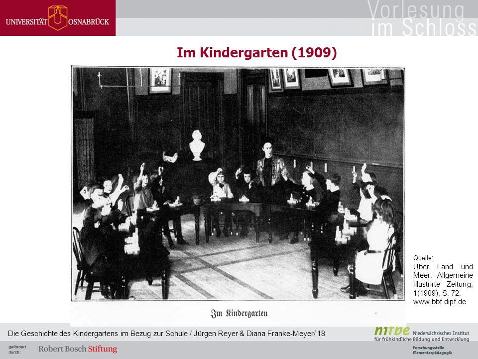 Im Kindergarten (1909) Die Geschichte des Kindergartens im Bezug zur Schule / Jürgen Reyer & Diana Franke-Meyer/ 18 Quelle : Über Land und Meer: Allge