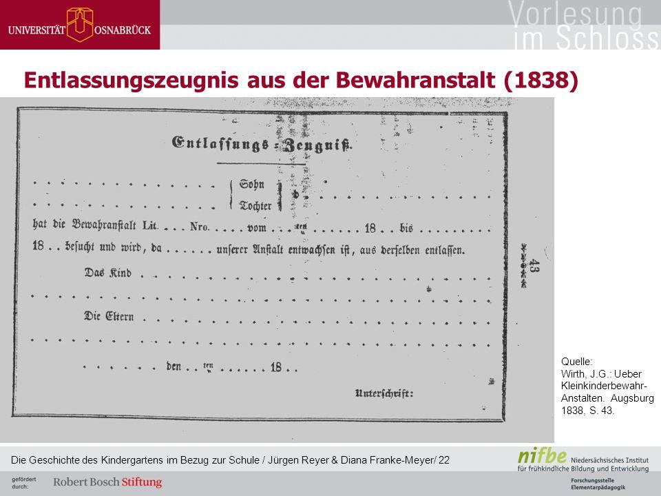 Entlassungszeugnis aus der Bewahranstalt (1838) Die Geschichte des Kindergartens im Bezug zur Schule / Jürgen Reyer & Diana Franke-Meyer/ 22 Quelle: W