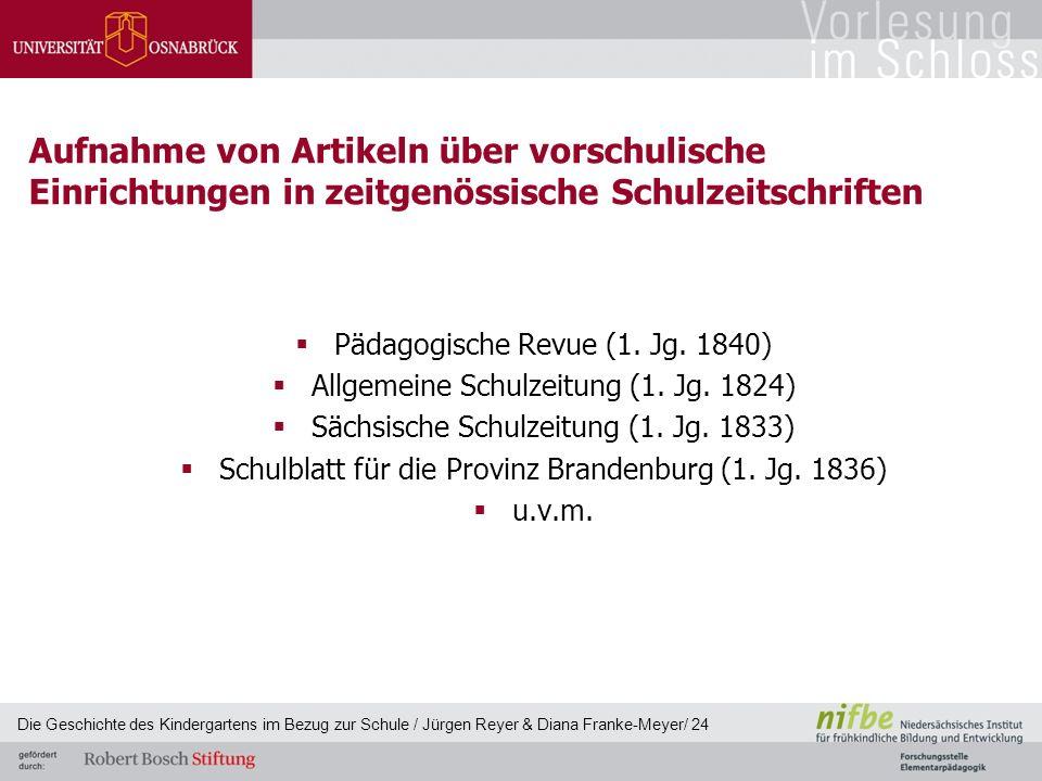 Aufnahme von Artikeln über vorschulische Einrichtungen in zeitgenössische Schulzeitschriften  Pädagogische Revue (1. Jg. 1840)  Allgemeine Schulzeit