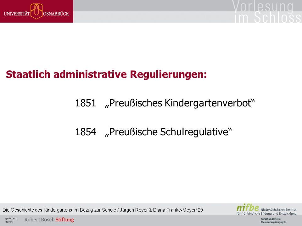 """1851""""Preußisches Kindergartenverbot"""" 1854""""Preußische Schulregulative"""" Staatlich administrative Regulierungen: Die Geschichte des Kindergartens im Bezu"""