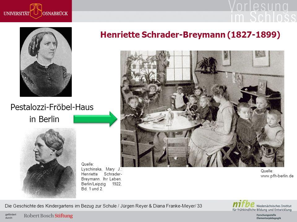 Henriette Schrader-Breymann (1827-1899) Pestalozzi-Fröbel-Haus in Berlin Die Geschichte des Kindergartens im Bezug zur Schule / Jürgen Reyer & Diana F