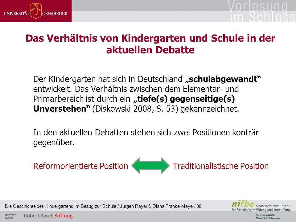 """Das Verhältnis von Kindergarten und Schule in der aktuellen Debatte Der Kindergarten hat sich in Deutschland """"schulabgewandt"""" entwickelt. Das Verhältn"""