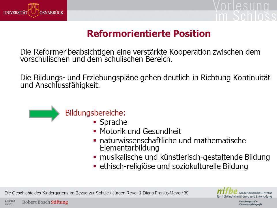 Reformorientierte Position Die Reformer beabsichtigen eine verstärkte Kooperation zwischen dem vorschulischen und dem schulischen Bereich. Die Bildung