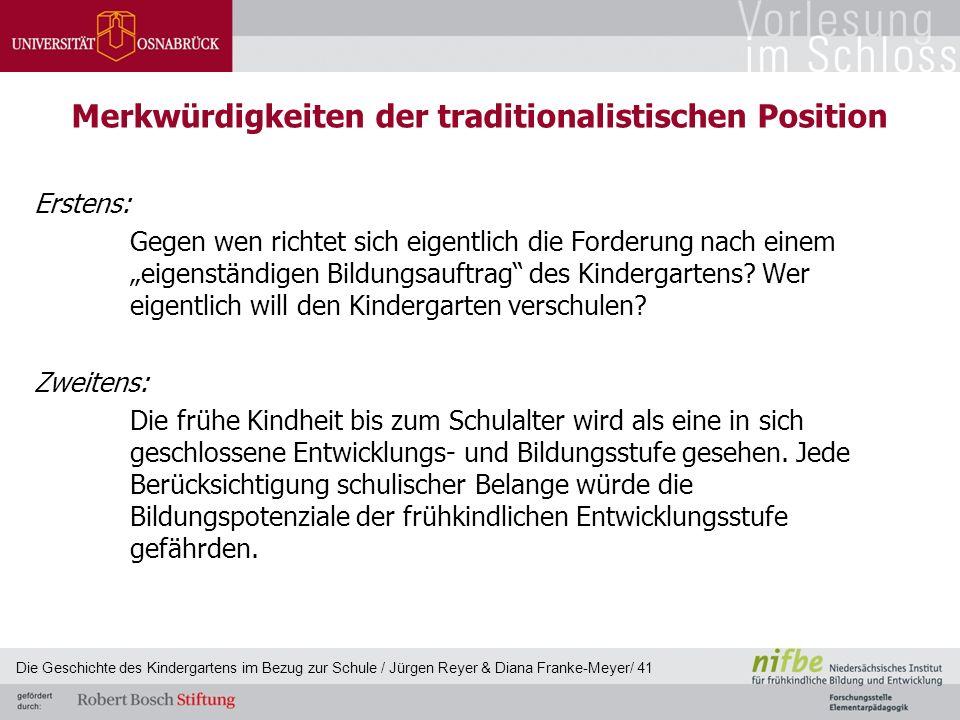 """Merkwürdigkeiten der traditionalistischen Position Erstens: Gegen wen richtet sich eigentlich die Forderung nach einem """"eigenständigen Bildungsauftrag"""