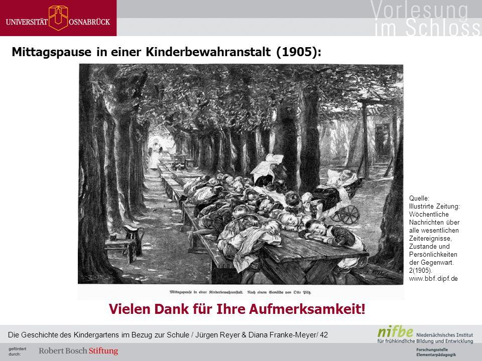 Mittagspause in einer Kinderbewahranstalt (1905): Die Geschichte des Kindergartens im Bezug zur Schule / Jürgen Reyer & Diana Franke-Meyer/ 42 Quelle: