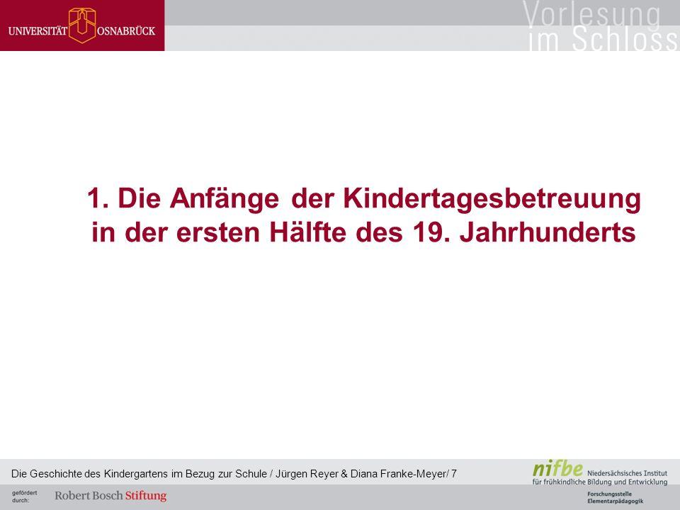 1. Die Anfänge der Kindertagesbetreuung in der ersten Hälfte des 19. Jahrhunderts Die Geschichte des Kindergartens im Bezug zur Schule / Jürgen Reyer
