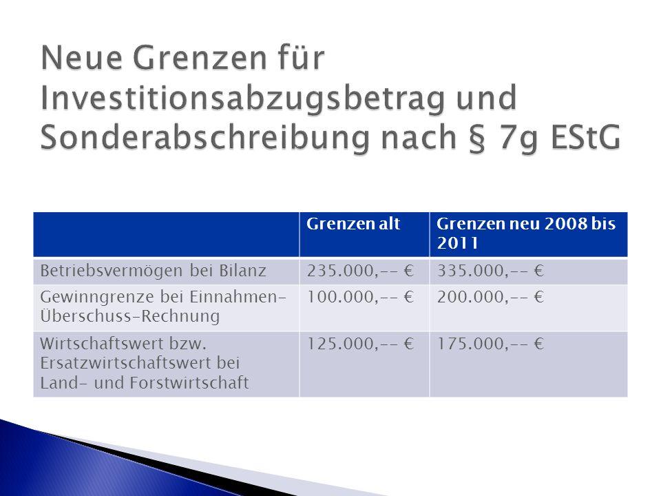 Grenzen altGrenzen neu 2008 bis 2011 Betriebsvermögen bei Bilanz235.000,-- €335.000,-- € Gewinngrenze bei Einnahmen- Überschuss-Rechnung 100.000,-- €200.000,-- € Wirtschaftswert bzw.