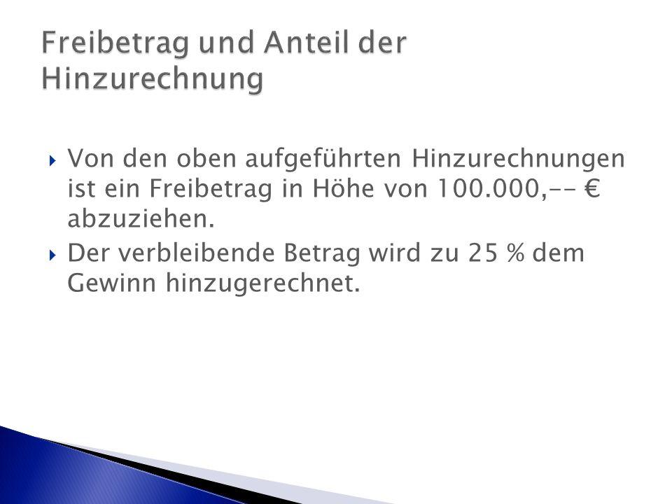  Von den oben aufgeführten Hinzurechnungen ist ein Freibetrag in Höhe von 100.000,-- € abzuziehen.