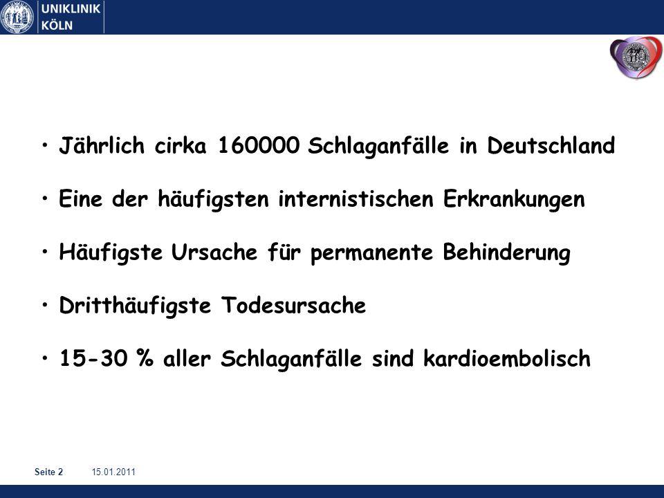 15.01.2011Seite 2 Jährlich cirka 160000 Schlaganfälle in Deutschland Eine der häufigsten internistischen Erkrankungen Häufigste Ursache für permanente Behinderung Dritthäufigste Todesursache 15-30 % aller Schlaganfälle sind kardioembolisch