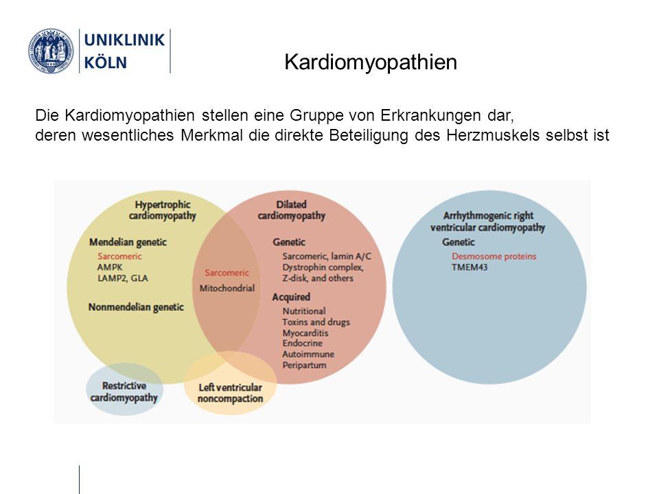 Kardiomyopathien Die Kardiomyopathien stellen eine Gruppe von Erkrankungen dar, deren wesentliches Merkmal die direkte Beteiligung des Herzmuskels selbst ist
