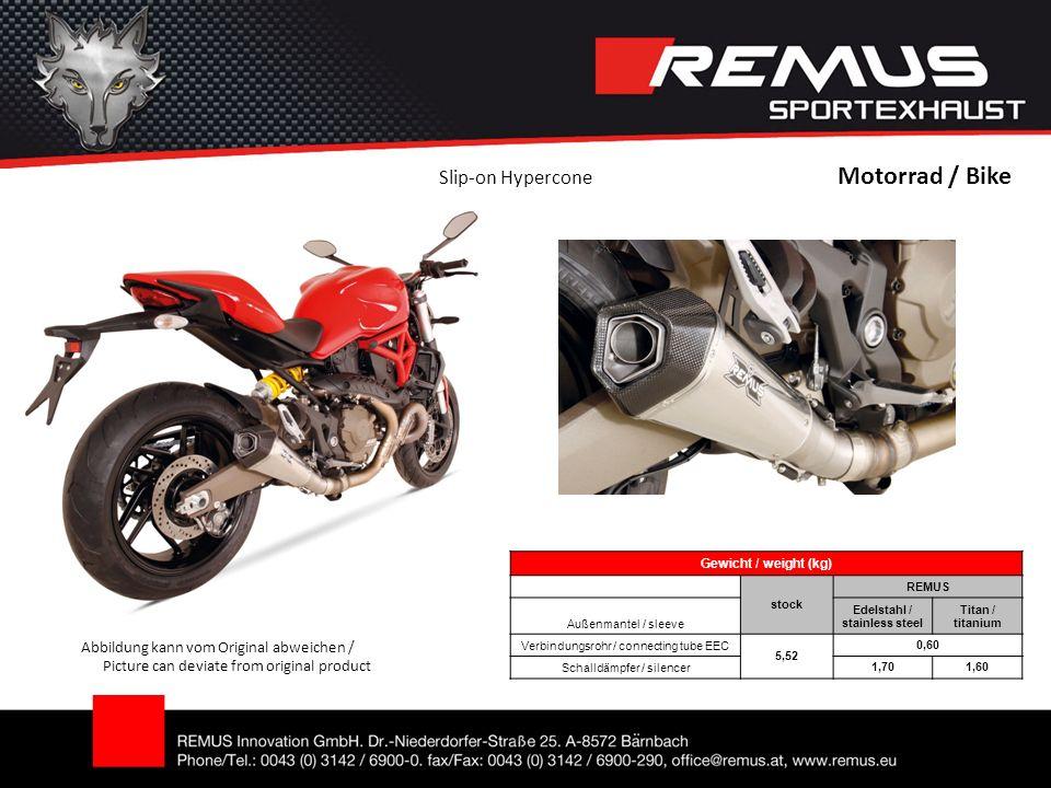 Motorrad / Bike Abbildung kann vom Original abweichen / Picture can deviate from original product Slip-on Hypercone Gewicht / weight (kg) stock REMUS