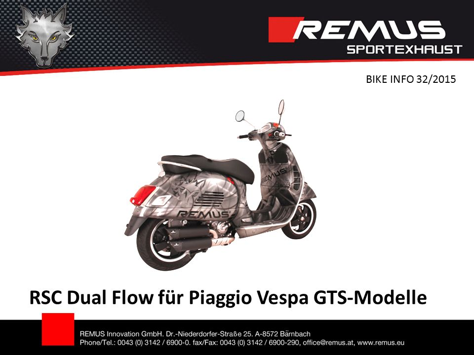 RSC Dual Flow für Piaggio Vespa GTS-Modelle BIKE INFO 32/2015