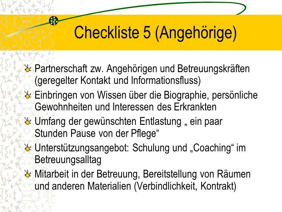 Checkliste 5 (Angehörige) Partnerschaft zw.