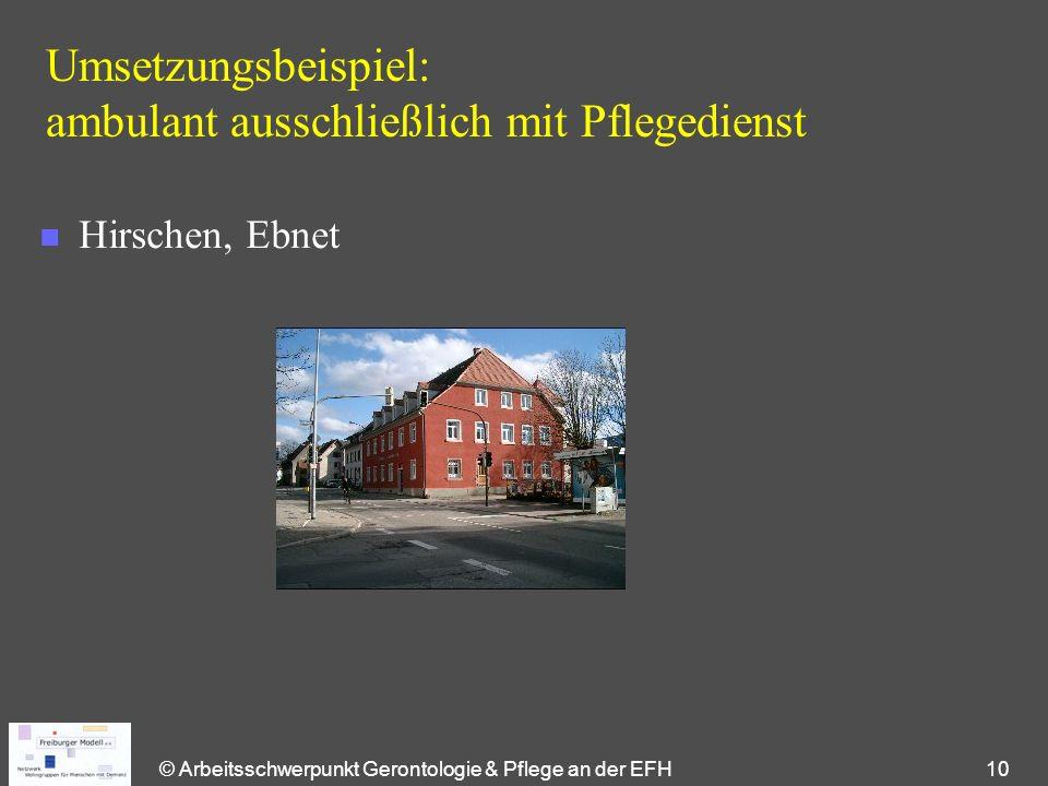 © Arbeitsschwerpunkt Gerontologie & Pflege an der EFH 10 Umsetzungsbeispiel: ambulant ausschließlich mit Pflegedienst n Hirschen, Ebnet
