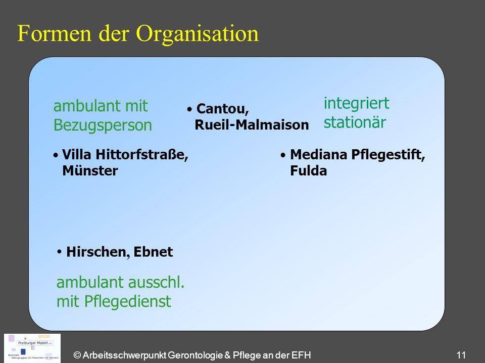 © Arbeitsschwerpunkt Gerontologie & Pflege an der EFH 11 Formen der Organisation ambulant mit Bezugsperson ambulant ausschl. mit Pflegedienst integrie