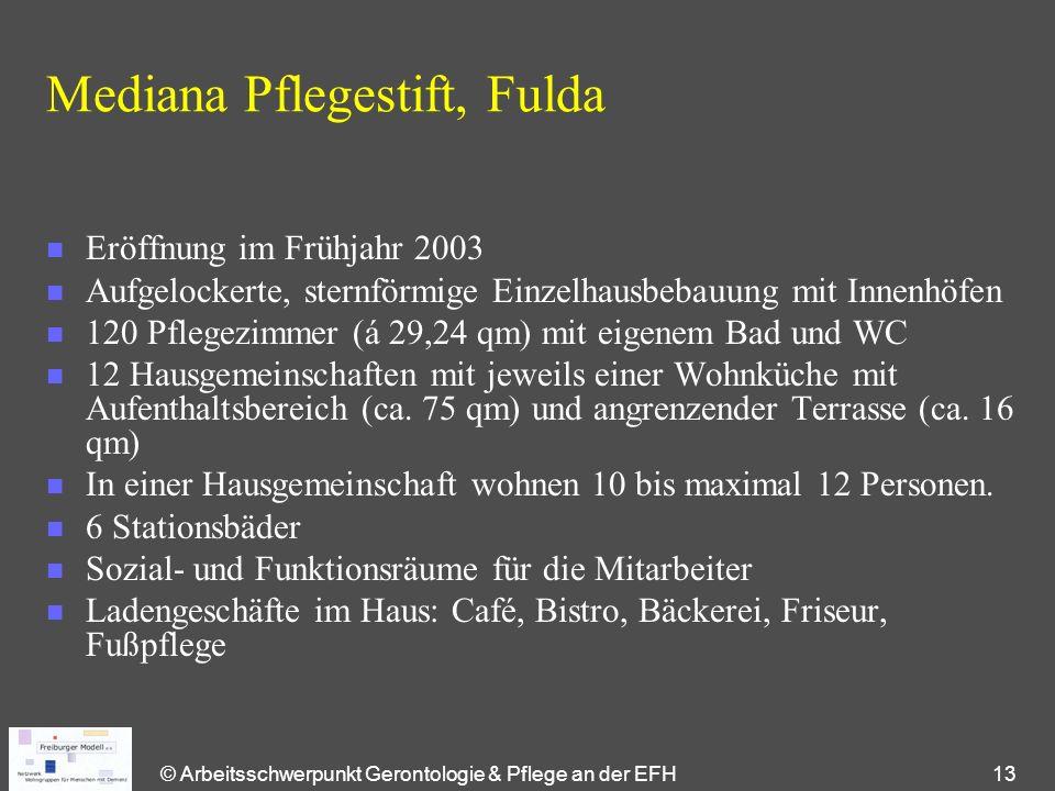 © Arbeitsschwerpunkt Gerontologie & Pflege an der EFH 13 Mediana Pflegestift, Fulda n Eröffnung im Frühjahr 2003 n Aufgelockerte, sternförmige Einzelh