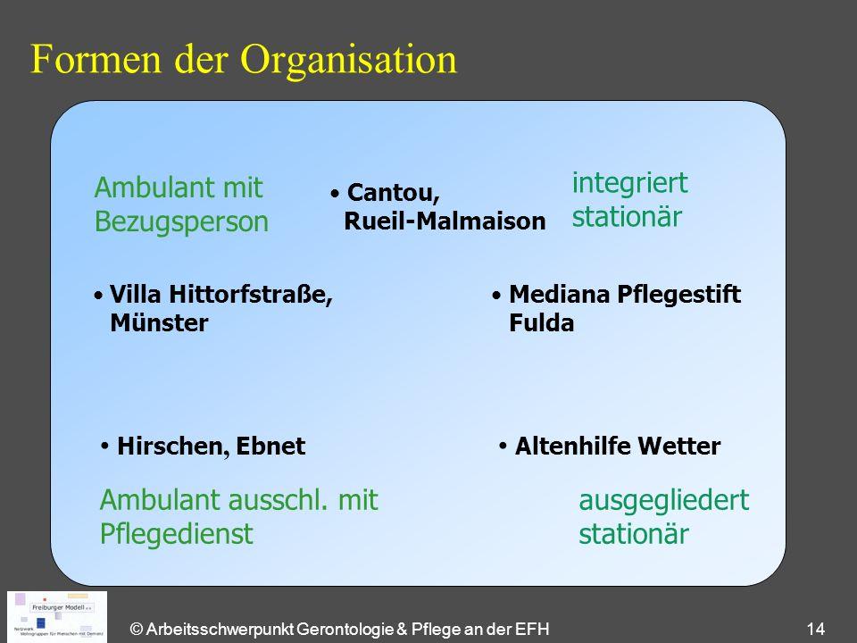 © Arbeitsschwerpunkt Gerontologie & Pflege an der EFH 14 Formen der Organisation Ambulant mit Bezugsperson ausgegliedert stationär Ambulant ausschl.
