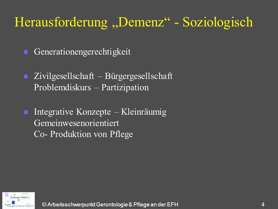 """© Arbeitsschwerpunkt Gerontologie & Pflege an der EFH 4 Herausforderung """"Demenz"""" - Soziologisch n Generationengerechtigkeit n Zivilgesellschaft – Bürg"""