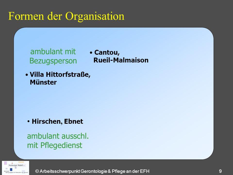© Arbeitsschwerpunkt Gerontologie & Pflege an der EFH 9 Formen der Organisation ambulant mit Bezugsperson ambulant ausschl. mit Pflegedienst Cantou, R