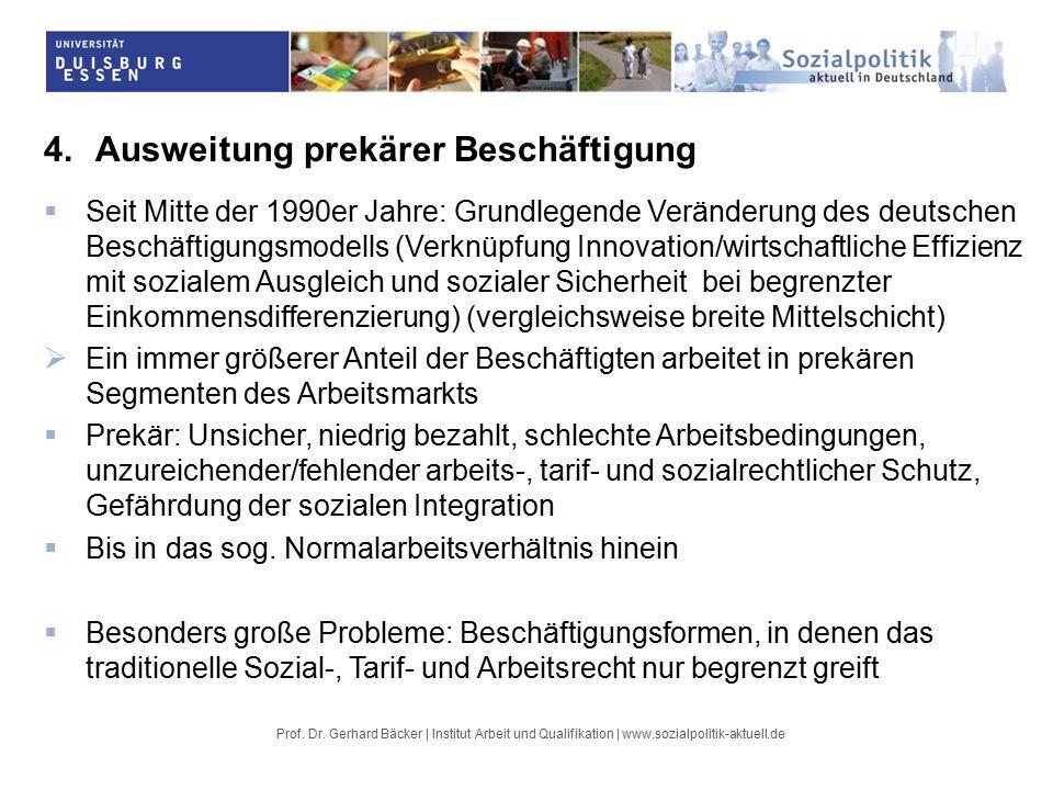 4.Ausweitung prekärer Beschäftigung  Seit Mitte der 1990er Jahre: Grundlegende Veränderung des deutschen Beschäftigungsmodells (Verknüpfung Innovation/wirtschaftliche Effizienz mit sozialem Ausgleich und sozialer Sicherheit bei begrenzter Einkommensdifferenzierung) (vergleichsweise breite Mittelschicht)  Ein immer größerer Anteil der Beschäftigten arbeitet in prekären Segmenten des Arbeitsmarkts  Prekär: Unsicher, niedrig bezahlt, schlechte Arbeitsbedingungen, unzureichender/fehlender arbeits-, tarif- und sozialrechtlicher Schutz, Gefährdung der sozialen Integration  Bis in das sog.
