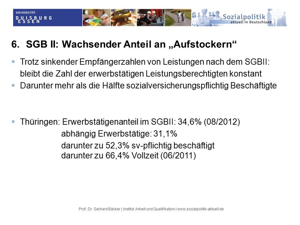 """6.SGB II: Wachsender Anteil an """"Aufstockern  Trotz sinkender Empfängerzahlen von Leistungen nach dem SGBII: bleibt die Zahl der erwerbstätigen Leistungsberechtigten konstant  Darunter mehr als die Hälfte sozialversicherungspflichtig Beschäftigte  Thüringen: Erwerbstätigenanteil im SGBII: 34,6% (08/2012) abhängig Erwerbstätige: 31,1% darunter zu 52,3% sv-pflichtig beschäftigt darunter zu 66,4% Vollzeit (06/2011)"""