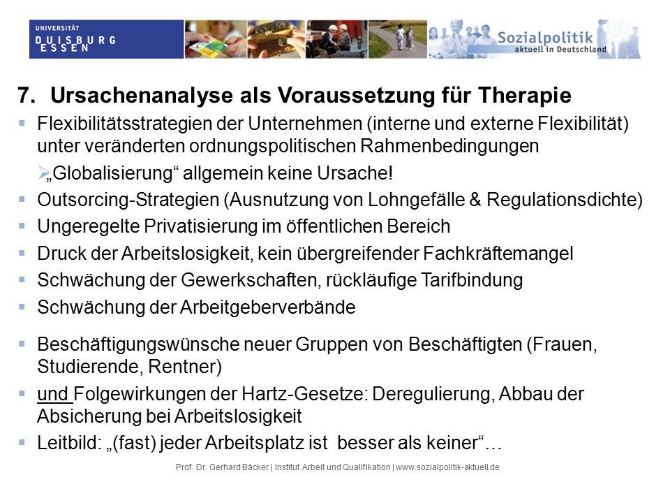 """7.Ursachenanalyse als Voraussetzung für Therapie  Flexibilitätsstrategien der Unternehmen (interne und externe Flexibilität) unter veränderten ordnungspolitischen Rahmenbedingungen  """"Globalisierung allgemein keine Ursache."""