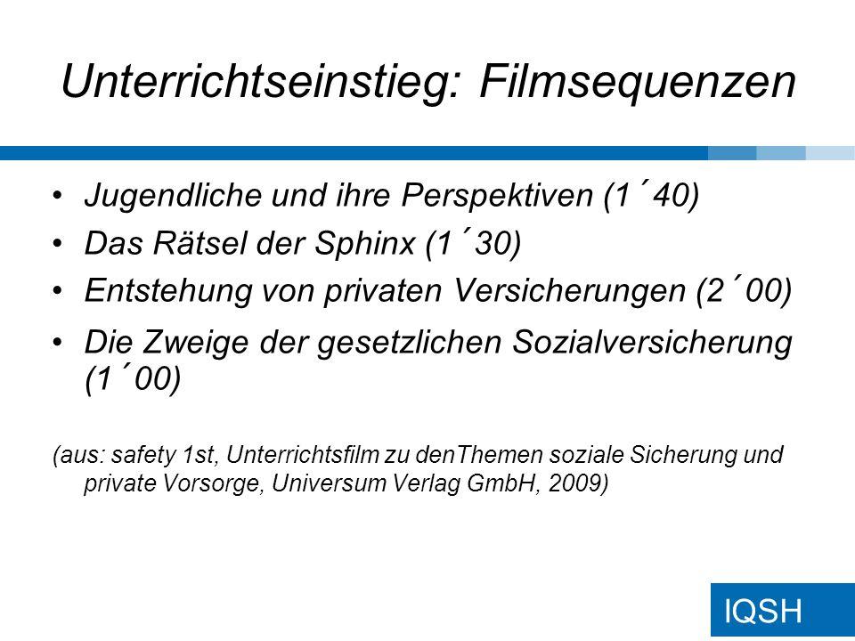 IQSH Unterrichtseinstieg: Filmsequenzen Jugendliche und ihre Perspektiven (1´40) Das Rätsel der Sphinx (1´30) Entstehung von privaten Versicherungen (2´00) Die Zweige der gesetzlichen Sozialversicherung (1´00) (aus: safety 1st, Unterrichtsfilm zu denThemen soziale Sicherung und private Vorsorge, Universum Verlag GmbH, 2009)