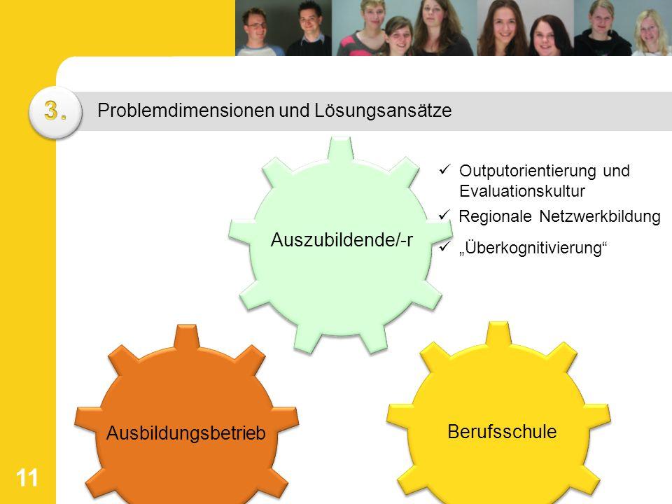 """11 Problemdimensionen und Lösungsansätze Berufsschule Auszubildende/-r Ausbildungsbetrieb Outputorientierung und Evaluationskultur """"Überkognitivierung Regionale Netzwerkbildung"""