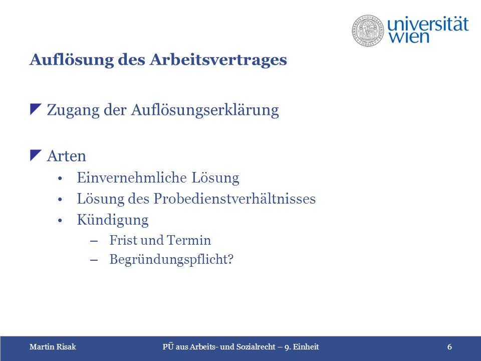Martin RisakPÜ aus Arbeits- und Sozialrecht – 9.