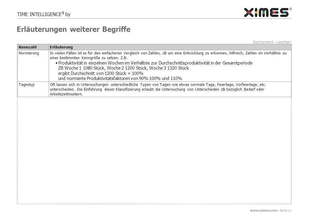 www.ximes.com - Seite 11 TIME INTELLIGENCE ® by Zeichenrand – Löschen.