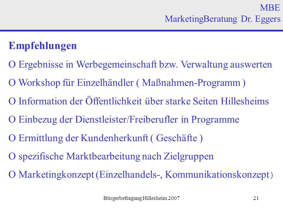 Bürgerbefragung Hillesheim 200721 Empfehlungen O Ergebnisse in Werbegemeinschaft bzw.