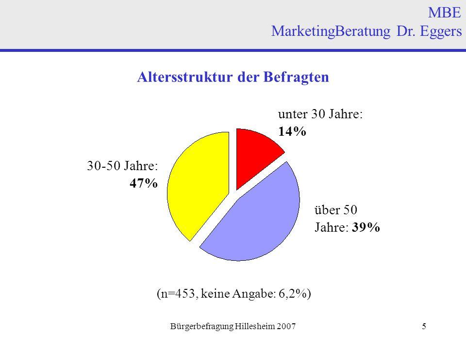 Bürgerbefragung Hillesheim 20076 Wohnort der Befragten MBE MarketingBeratung Dr.