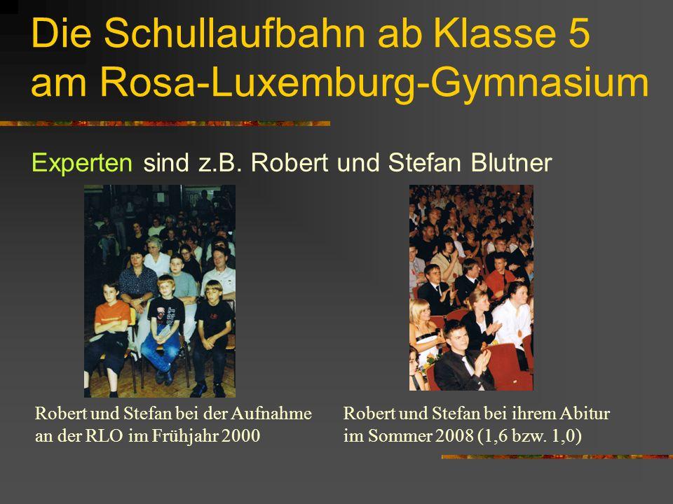 Die Schullaufbahn ab Klasse 5 am Rosa-Luxemburg-Gymnasium Experten sind z.B.